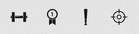 Set Dumbbell, Medal, Baseball bat and Target sport icon. Vector