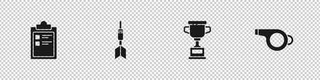 Set Sport training program, Dart arrow, Award cup and Whistle icon. Vector Illusztráció