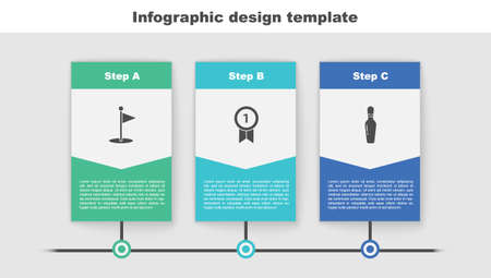Set Golf flag, Medal and Bowling pin. Business infographic template. Vector