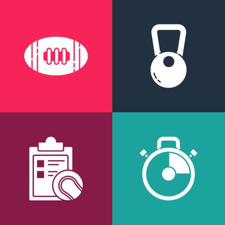 Set pop art Stopwatch, Checklist clipboard and tennis ball, Kettlebell and American Football icon. Vector