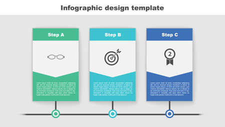 Set Glasses for swimming, Target with arrow and Medal. Business infographic template. Vector