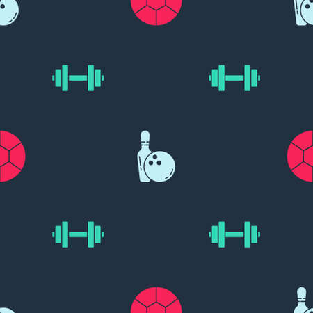 Set Football ball, Bowling pin and and Dumbbell on seamless pattern. Vector