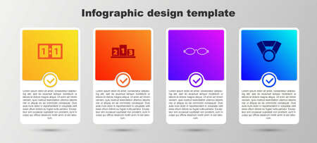 Set Sport mechanical scoreboard, Award over sports winner podium, Glasses for swimming and Medal. Business infographic template. Vector