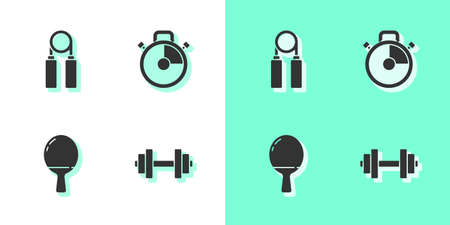 Set Dumbbell, Sport hand grip expander, Racket for playing table tennis and Stopwatch icon. Vector