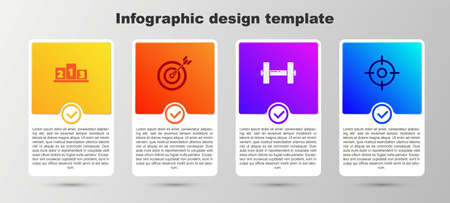 Set Award over sports winner podium, Target with arrow, and Dumbbell. Business infographic template. Vector Illusztráció