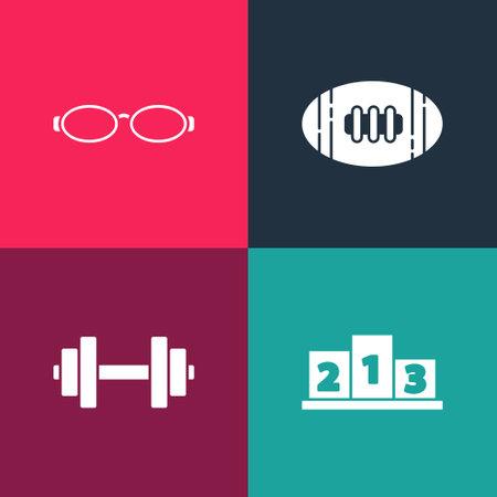 Set pop art Award over sports winner podium, Dumbbell, American Football ball and Glasses for swimming icon. Vector Illusztráció