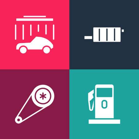 Set pop art Petrol or Gas station, Timing belt kit, Car muffler and wash icon. Vector Illusztráció