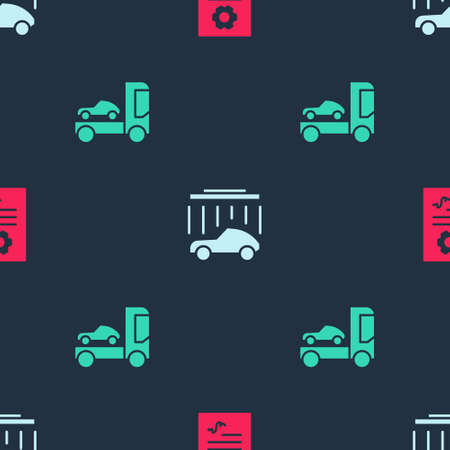 Set Auto service check automotive, Car wash and transporter truck on seamless pattern. Vector