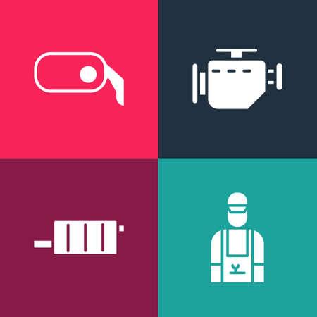 Set pop art Car mechanic, muffler, Check engine and rearview mirror icon. Vector Illusztráció