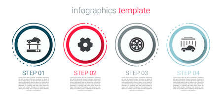 Set Repair car on a lift, Gear, Alloy wheel and Car wash. Business infographic template. Vector