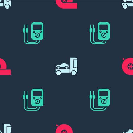 Set Automotive turbocharger, Car transporter truck and Multimeter on seamless pattern. Vector Illusztráció