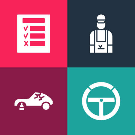 Set pop art Steering wheel, Broken car, Car mechanic and inspection icon. Vector