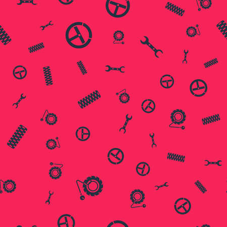 Set Tire pressure gauge, Steering wheel, Car tire and Wrench spanner on seamless pattern. Vector Illusztráció