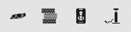 Set Car headlight, tire wheel, Online car services and air pump icon. Vector Illusztráció