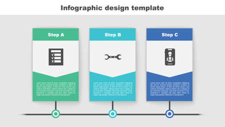 Set Car inspection, Wrench spanner and Online car services. Business infographic template. Vector