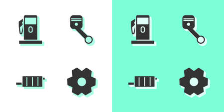 Set Gear, Petrol or Gas station, Car muffler and Engine piston icon. Vector Illusztráció