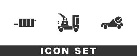 Set Car muffler, Tow truck and Auto service check automotive icon. Vector