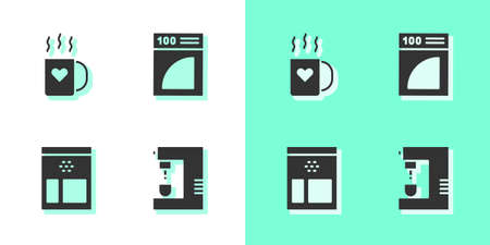 Set Coffee machine, cup with heart, Bag coffee beans and paper filter icon. Vector