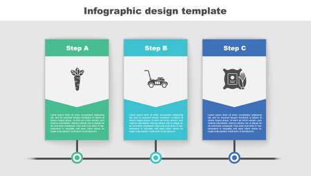 Set Carrot, Lawn mower and Corn in the sack. Business infographic template. Vector
