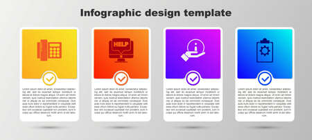Set Telephone, Computer monitor and help, Information and Checklist with 24 hours service. Business infographic template. Vector