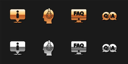 Set Information, Support operator in touch, Computer monitor and FAQ and Question Answer icon. Vector