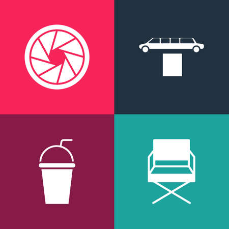 Set pop art Director movie chair, Paper glass with straw, Limousine car and carpet and Camera shutter icon. Vector