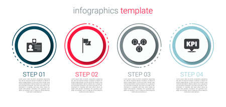 Set Identification badge, Location marker, Project team base and Key performance indicator. Business infographic template. Vector