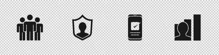 Set Users group, protection, Smartphone and Productive human icon. Vector