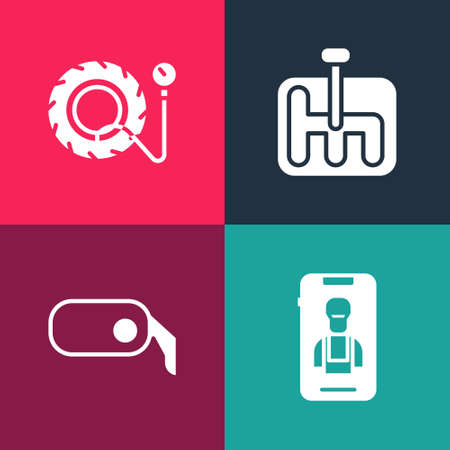 Set pop art Online car services, Car rearview mirror, Gear shifter and Tire pressure gauge icon. Vector