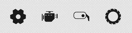 Set Gear, Check engine, Car rearview mirror and tire wheel icon. Vector