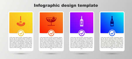 Set Pickled cucumber on a fork, Cocktail, Glass bottle of vodka and Champagne. Business infographic template. Vector