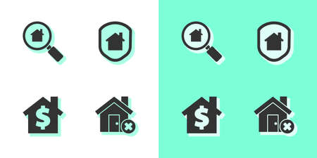 Set House with wrong mark, Search house, dollar symbol and under protection icon. Vector