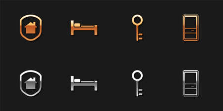 Set House under protection, Bed, key and Closed door icon. Vector