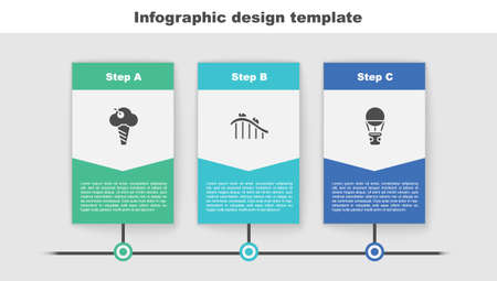 Set Ice cream in waffle cone, Roller coaster and Hot air balloon. Business infographic template. Vector 矢量图片