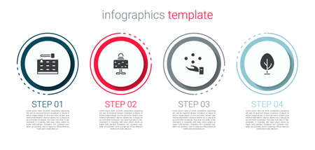 Set Arcade game machine, Magic ball on table, Juggling and Tree. Business infographic template. Vector