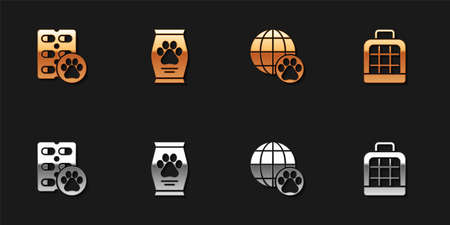 Set Dog pill, Bag of food, World pet and Pet carry case icon. Vector Иллюстрация