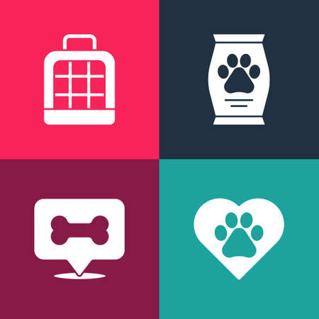 Set pop art Heart with animals footprint, Dog bone, Bag of food and Pet carry case icon. Vector Иллюстрация