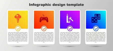 Set Ice cream in waffle cone, Gamepad, Striker attraction with hammer and dice. Business infographic template. Vector