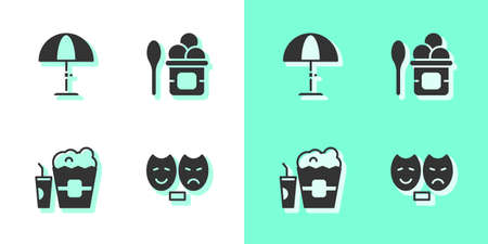 Set Comedy and tragedy masks, Sun protective umbrella, Popcorn in box glass and Ice cream bowl icon. Vector 向量圖像