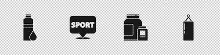 Set Fitness shaker, Location gym, Sports nutrition and Punching bag icon. Vector Vetores