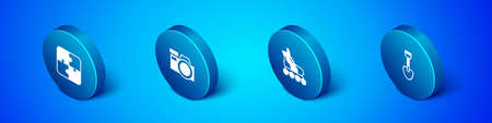 Set Isometric Puzzle pieces toy, Roller skate, Shovel and Photo camera icon. Vector Vektorgrafik
