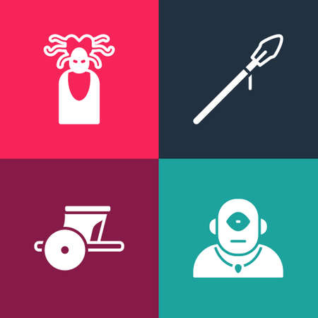 Set pop art Cyclops, Ancient chariot, Medieval spear and Medusa Gorgon icon. Vector
