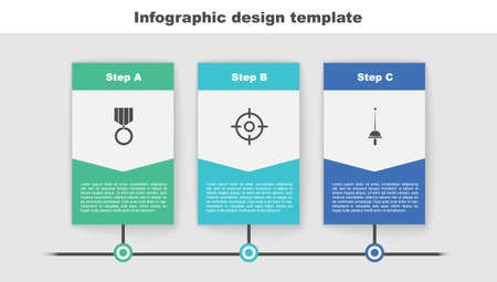 Set Medal, Target sport and Fencing. Business infographic template. Vector