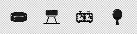 Set Hockey puck, Pommel horse, Time chess clock and Racket for playing table tennis icon. Vector