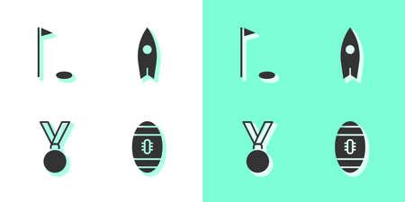 Set American Football ball, Golf flag, Medal and Surfboard icon. Vector