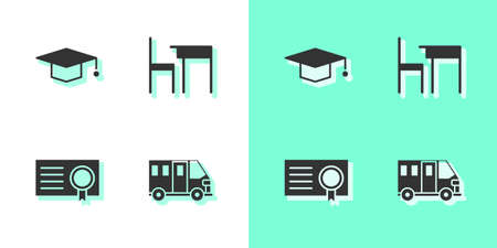 Set School Bus, Graduation cap, Certificate template and table and chair icon. Vector