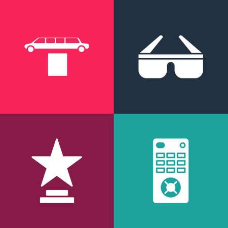 Set pop art Remote control, Movie trophy, 3D cinema glasses and Limousine car and carpet icon. Vector