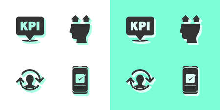Set Smartphone, Key performance indicator, Human resources and User of icon. Vector