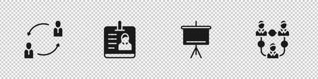 Set Human resources, Identification badge, Chalkboard and Project team base icon. Vector