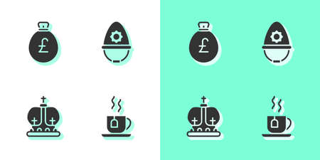 Set Cup of tea with tea bag, Money pound, British crown and police helmet icon. Vector